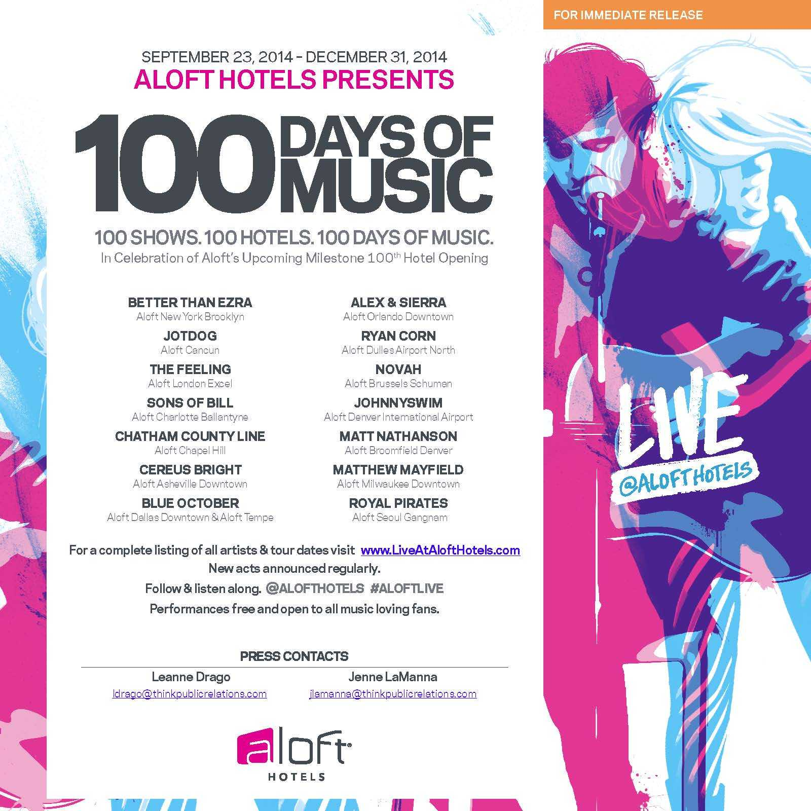 Aloft Hotels Presents 100 Days of Music | Business Wire