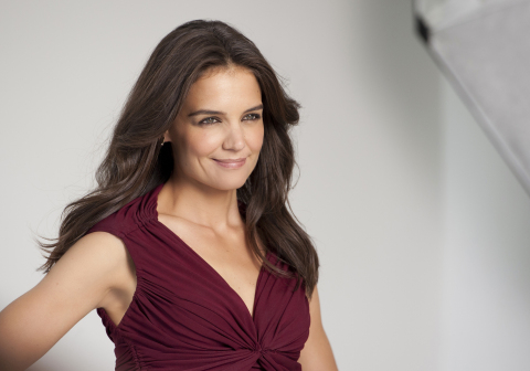 Katie Holmes, the first Olay Global Brand Ambassador, on set during the brand's recent advertising shoot. (Photo: Business Wire)