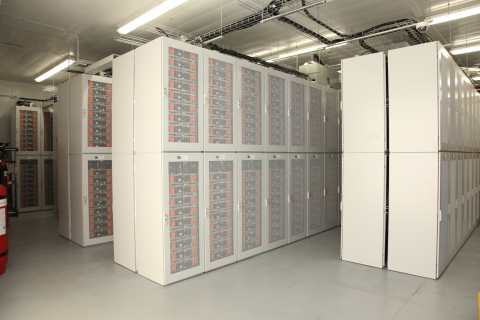 Inside the LG Chem system, one of the world's largest battery energy storage systems. (Photo: Business Wire)