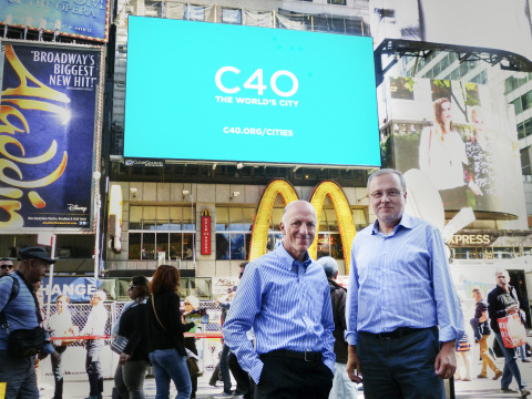 Clear Channel Outdoor CEO, William Eccleshare and Manel Sanroma, Chief Information Officer of Barcelona City Council (a C40 City)  (Photo: Business Wire)