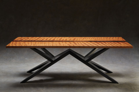 Exceptionally rare and unique $100,000 table made from 50,000-year old Ancient Kauri wood. (Photo: Ron Crofoot)