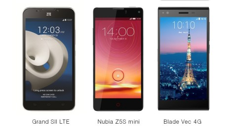 Three flagship smartphones - Grand SII LTE, Nubia Z5S Mini and Blade Vec 4G (Photo: Business Wire)