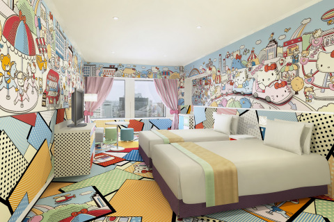"The ""Kitty Town"" Rooms with a fun, pop-art feel, depict Hello Kitty having fun at an amusement park & enjoying shopping with her friends and family. (C) 1976, 2014 SANRIO CO., LTD. APPROVAL No. SP550961 (Photo: Business Wire)"