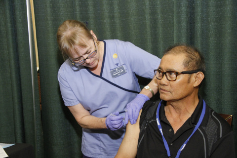 Nurses from Fresenius Medical Care were on-hand at the annual AAKP meeting to vaccinate patients against the flu at no cost. (Photo: Business Wire)