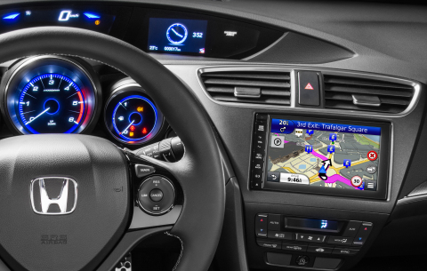 Garmin's award-winning navigation will be fully integrated into 2015 Honda Civic and CR-V in-dash infotainment systems. (Photo: Business Wire)