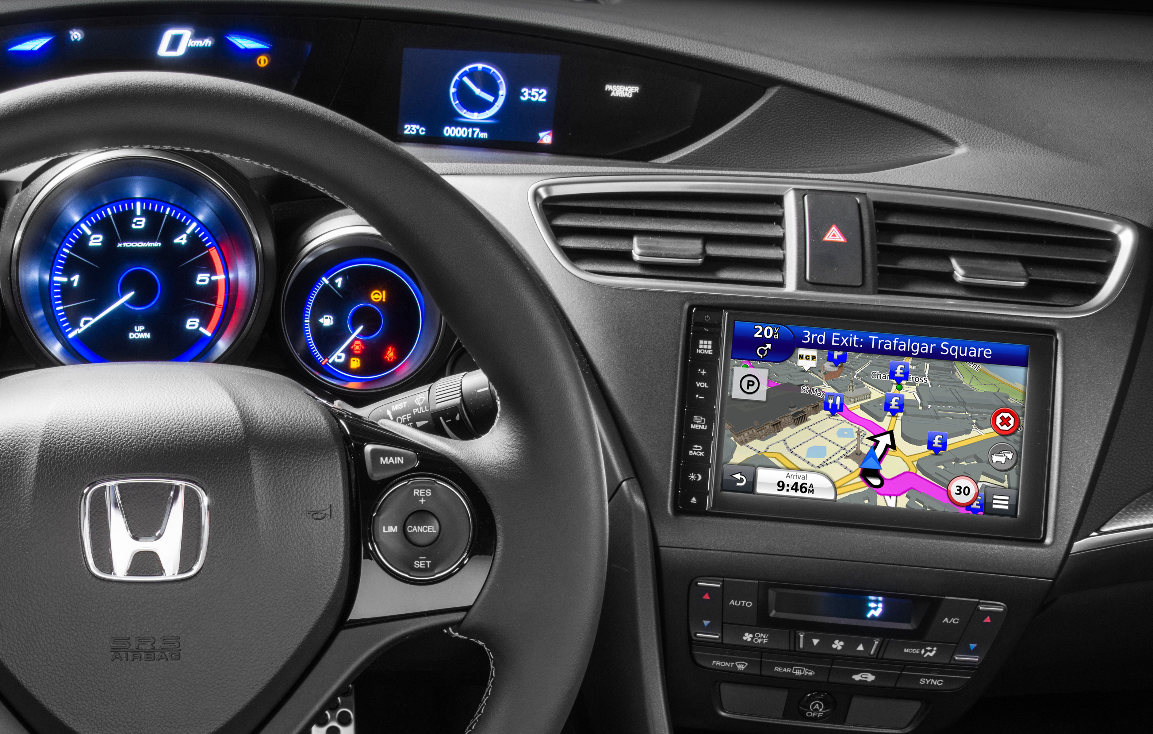garmin to provide in dash navigation for honda civic and cr v models in europe russia and. Black Bedroom Furniture Sets. Home Design Ideas