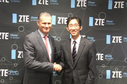 Luis Férez, General Director IM Mexico (left), Ji Cheng, VP of ZTE USA (Right) (Photo: Business Wire ...