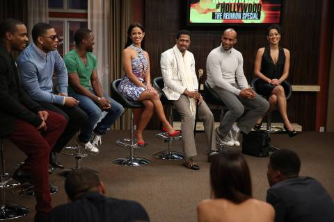 """Kevin Hart confronts Chris Rock and the cast of RHOH on Common pays tribute to Mike Brown and welcomes Mike Brown's """"Real Husbands of Hollywood Reunion Special 2: Mitch Please"""" parents on stage. Photo Credit: Tyler Golden/courtesy of BETN"""