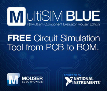 Mouser's MultiSIM BLUE all-in-one circuit simulation tool is now available, powered by NI. http://www.mouser.com/MultiSimBlue (Graphic: Business Wire)