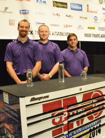 FedEx Freight technicians Eric Vos, Mark McLean Jr. and Chuck Kerr swept the top three spots at the