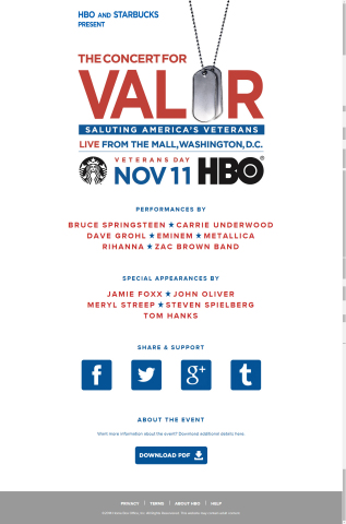 HBO and Starbucks CONCERT FOR VALOR on Veterans Day (Graphic: Business Wire)