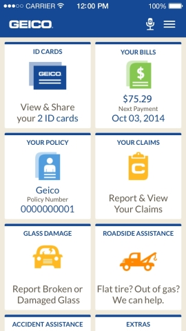 GEICO leads a strong field of auto insurers with its outstanding mobile app (Graphic: Business Wire)