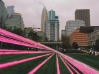 Caribou Coffee's Arch of Hope designed to inspire those impacted by breast cancer will be hosted in the Richard and Annette Bloch Cancer Survivor's Park in downtown Minneapolis throughout the month of October (Photo: Business Wire).