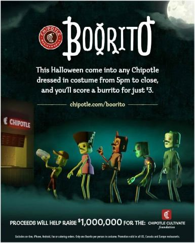 Chipotle celebrates Halloween with Boorito and $1 million contribution to the Chipotle Cultivate Foundation. (Graphic: Business Wire)