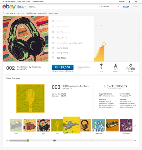 With eBay's live auctions, online shoppers now have the same access to auction merchandise as those bidding in person (Graphic: Business Wire)