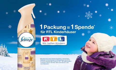 """Mit Febreze und den neuen Winterdüften für """"RTL – Wir helfen Kindern"""" spenden (Grafik: Business Wire)"""