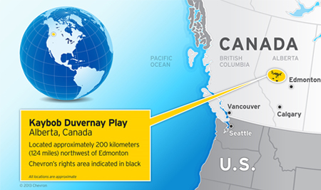 Chevron Canada has drilled 16 wells since beginning its exploration program, with initial well production rates of up to 7.5 million cubic feet of natural gas and 1,300 barrels of condensate per day. (Graphic: Business Wire)