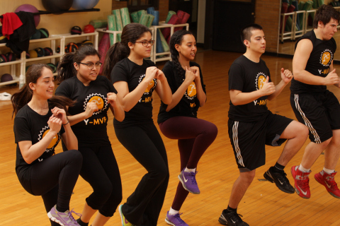 YMCA teens engage in the Y-MVP Teen Fitness Program, an innovative approach to physical activity that marries technology and movement. (Photo: Business Wire)