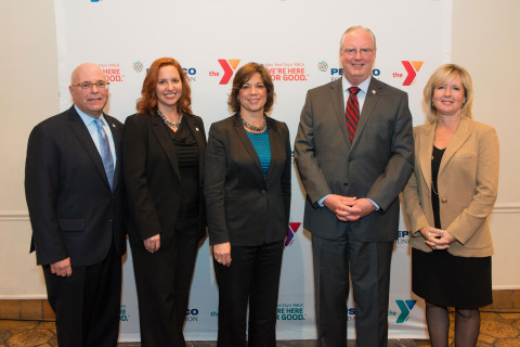 (Left to right) Gary Laermer, Chief Development Officer, YMCA of Greater New York, Lori Rose Benson, Vice President of Healthy Lifestyles, YMCA of Greater New York, Deborah Rosado Shaw, senior vice president and Chief Global Diversity and Engagement Officer at PepsiCo, Jack Lund, President & CEO, YMCA of Greater New York, and Sue Norton, Vice President, Global Citizenship and Sustainability, PepsiCo Foundation join together to celebrate the expansion of the Y-MVP program. (Photo: Business Wire)