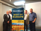 Pictured (L to R): David Friesen (Chairman, Friesens), Doug Symington (General Sales Manager, Friesens), Steve Iwanicki (Regional Sales Manager-USA, Friesens), and guidebook author Rick Steves.(Photo: Business Wire)
