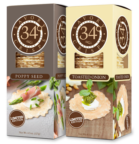 34 Degrees Adds Limited Edition Toasted Onion and Poppy Seed Flavors to Line of Savory Crisps (Photo: Business Wire)