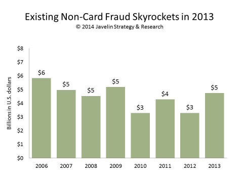 Existing Non-Card Fraud Skyrockets in 2013 (Graphic: Business Wire)