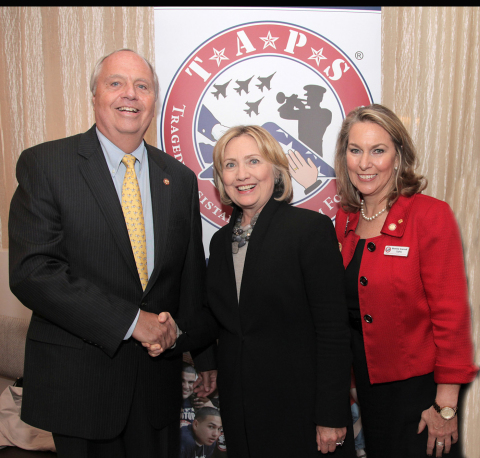 (Left to right) Prudential Vice Chairman Mark Grier, former Secretary of State Hillary Clinton, and Bonnie Carroll, military widow and founder of TAPS. Secretary Clinton received the Lifetime Service Award in recognition of her support for the organization over the last decade. Prudential received the Corporate Engagement Award for its longstanding commitment to U.S. military veterans, active service members and their families. (Photo: Business Wire)