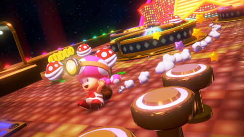 Pink-pigtailed Toadette joins Captain Toad and makes her debut as a second playable character in por ...