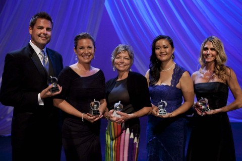 (from left to right) John Berray, West Hills High School (Grossmont Union High School District); Maria Teran-Cruz, Jefferson Elementary School (Carlsbad Unified School District); Mary Goins, Lakeside Middle School (Lakeside Union School District); Khamphet Pease, Wilson Middle School (San Diego Unified School District); and Sara Matthews, Sarah Anthony School (San Diego County Office of Education). (Photo: Business Wire)