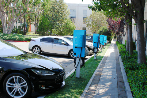 NRG eVgo completes Largest Corporate Installation of Electric Vehicle Charging Stations in Southern California, Sony Pictures Entertainment employees at three locations can charge their electric cars while they work (Photo: Business Wire)