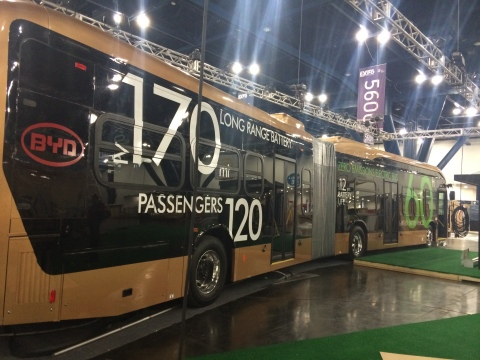 The world's largest battery-electric vehicle is a 60-foot articulated bus that carries 120 passengers over 170 miles per single electric charge. (Photo: Business Wire)