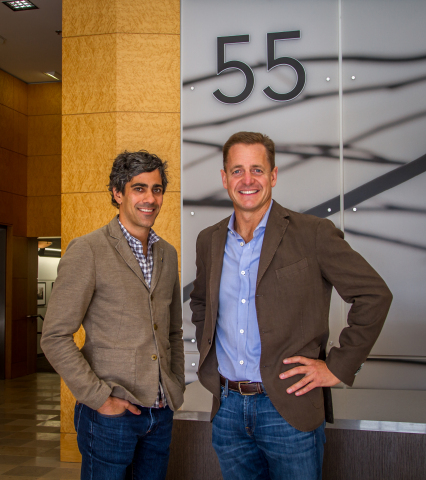 Jeremy Stoppleman, CEO of Yelp and John Winther, Founder and Managing Partner of Harvest Properties at 55 Hawthorne (Photo: Business Wire)