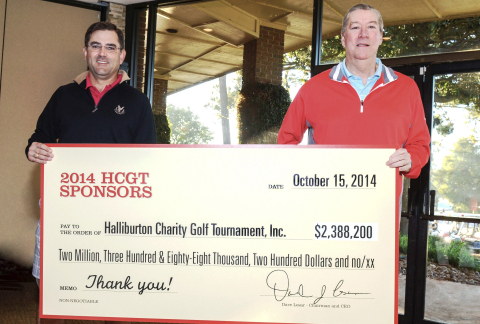 The 21st annual Halliburton Charity Golf Tournament raised a record of nearly $2.4 million, making it one of the largest non-PGA golf tournament fundraisers in Houston. Holding a check signifying the donation that will benefit 36 nonprofit organizations across the U.S. are (left to right) Jeff Miller, Halliburton president, and Dave Lesar, Halliburton chairman and CEO. (Photo: Business Wire)