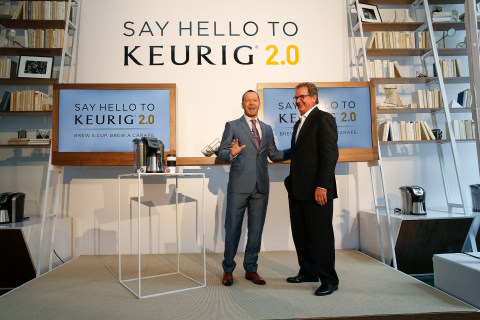 "Executive producer, actor and singer Donnie Wahlberg and John Whoriskey, President, U.S. Sales and Marketing of Keurig, celebrated the opening of the Keurig 2.0 Pop-Up in New York on October 15 and kicked off the ""Say Hello with Keurig 2.0"" consumer sweepstakes. (Photo By: Greg M. Cooper / Keurig)"