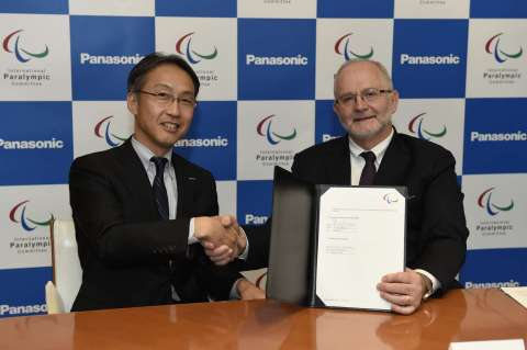 Panasonic Corporation Executive Officer Satoshi Takeyasu (left) and IPC President Sir Philip Craven  ...