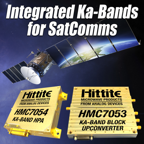 Analog Devices Introduces Ka-Band HPA and Block Upconverter for Single-Carrier Satellite Communications Equipment Two Ka-band devices for use in single-carrier satellite communications. (Graphic: Business Wire)