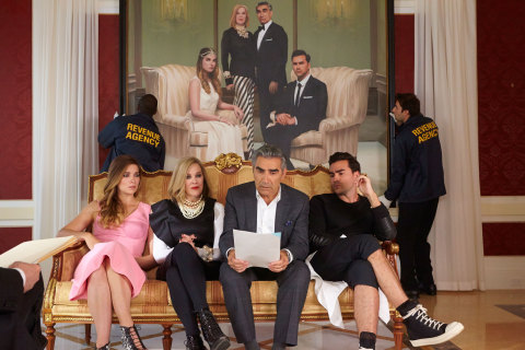 """""""Schitt's Creek"""" original comedy series will premiere on POP (currently TVGN) in early 2015 and stars Eugene Levy (right center), Catherine O'Hara (left center), Daniel Levy (right) and Annie Murphy (left). (Photo: Business Wire)"""
