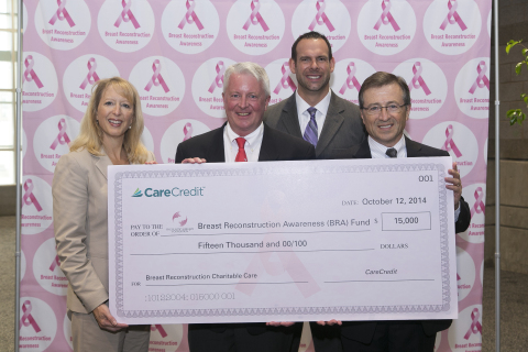 PHOTO: from Left to Right – Laurie Hurt, marketing director for CareCredit; Dr. Nicholas Vedder, president of The PSF; Nick Mattia, sales director, CareCredit; and Dave Fasoli, chief executive officer, CareCredit. (Photo: Business Wire)
