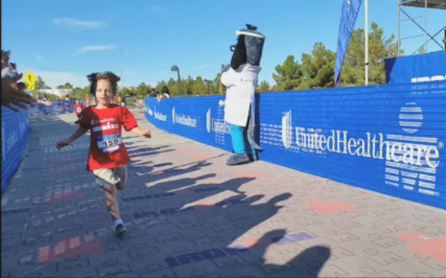 UnitedHealthcare mascot Dr. Health E. Hound is at the finish line of a recent UnitedHealthcare IRONKIDS Fun Run in Las Vegas. Miami kids ages 3-15 are invited to participate in the inaugural UnitedHealthcare Miami Fun Run Saturday, Oct. 25, at 9 a.m. at Bayfront Park. The 1/4, 1/2, and 1-mile course will take place along portions of the 2014 City Bikes IRONMAN 70.3 Miami race course, which begins the next day (Video: Kin Lui).