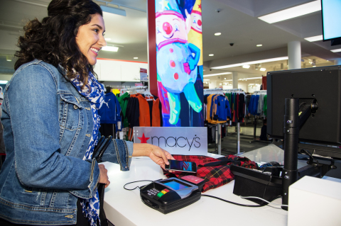 Macy's stores nationwide are now accepting mobile payments for purchases via Apple Pay. Available on Apple's iPhone 6 and iPhone 6 Plus, shoppers are now able to pay for purchases in an easy, secure and private manner using Touch ID. With more than 800 locations nationwide, Macy's is among the first national retailers to support the new mobile payment service. (Photo: Business Wire)