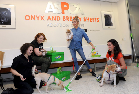 Modern Family's Sarah Hyland, center, brings the Swiffer Effect to the ASPCA Adoption Center in New York, Monday, Oct. 20, 2014. Swiffer  announced a year-long effort to help support the ASPCA in finding homes for animals in need and help make the challenges of cleaning up after a pet less of a concern after adoption. (Photo by Diane Bondareff/Invision for Swiffer/AP Images)
