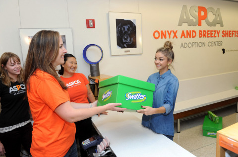 Modern Family's Sarah Hyland brings the Swiffer Effect to the ASPCA  Adoption Center via the Big Green Box, Monday, Oct. 20, 2014, in New York. Swiffer announced a year-long effort to help support the ASPCA in finding homes for animals in need and help make the challenges of cleaning up after a pet less of a concern. (Photo by Diane Bondareff/Invision for Swiffer/AP Images)