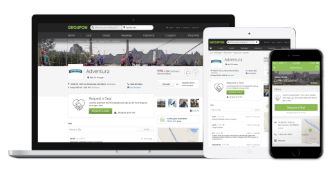 Pages provide Groupon users with better information on local options and where they can save the most money and give merchants an additional presence to connect with potential customers and drive more sales in the form of exclusive offers, everyday specials, coupons and other promotions. (Graphic: Business Wire)