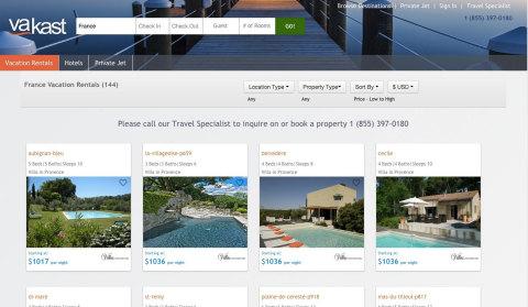Vakast Luxury Search Page (Graphic Courtesy: Vakast)