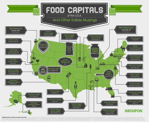INFOGRAPHIC: Food Capitals of the U.S.A. featuring culinary hotspots based on Groupon sales data -- in celebration of the Taste of Groupon, a food-focused collection of top restaurant deals. (Graphic: Business Wire)
