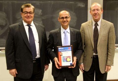 Left to right: Axalta's Panos Kordomenos, Professor Omar M. Yaghi (UC-Berkeley), Professor and Chair of Chemistry Department Gary A. Molander (University of Pennsylvania). (Photo: Business Wire)