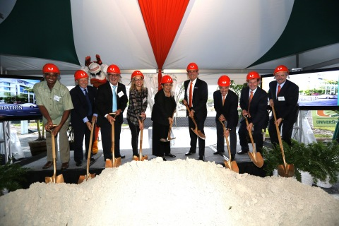 Groundbreaking occasion: UM held a ceremonial groundbreaking on Thursday for the Lennar Foundation Medical Center, scheduled to open on the Coral Gables campus in 2016. From left to right are Lennar Foundation trustees Malcolm Waynewright; Allan Pekor; Marshall Ames, who also serves as chairman of the foundation; and Shelly Rubin; UM President Donna E. Shalala; Lennar Foundation trustee Stuart A. Miller, who chairs the UM Board of Trustees; Pascal J. Goldschmidt, senior vice president for medical affairs, dean of the Miller School of Medicine, and CEO of UHealth; Joe Natoli, UM senior vice president for business and finance and chief financial officer; and Thomas J. LeBlanc, UM executive vice president and provost. (Photo: Business Wire)