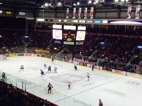 G&K Services joined with the Windsor Spitfires to raise awareness of breast cancer in last night's game against the Plymouth Whalers. (Photo: G&K Services and the Windsor Spitfires)