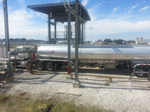 The first truckload of renewable hydrocarbon diesel produced and sold by Renewable Energy Group at the company's recently acquired Geismar, LA biorefinery on October 23. (photo courtesy REG)