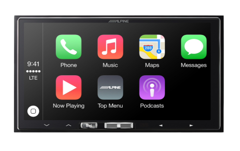 Menu screen for the Alpine iLX-007 for Apple CarPlay (Photo: Business Wire)